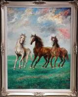 高級絵画「飛躍(馬)」油絵